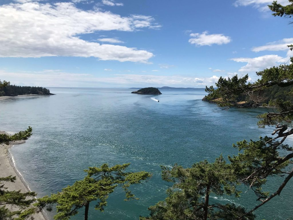 The view from the trail heading towards the Deception Pass Bridge.
