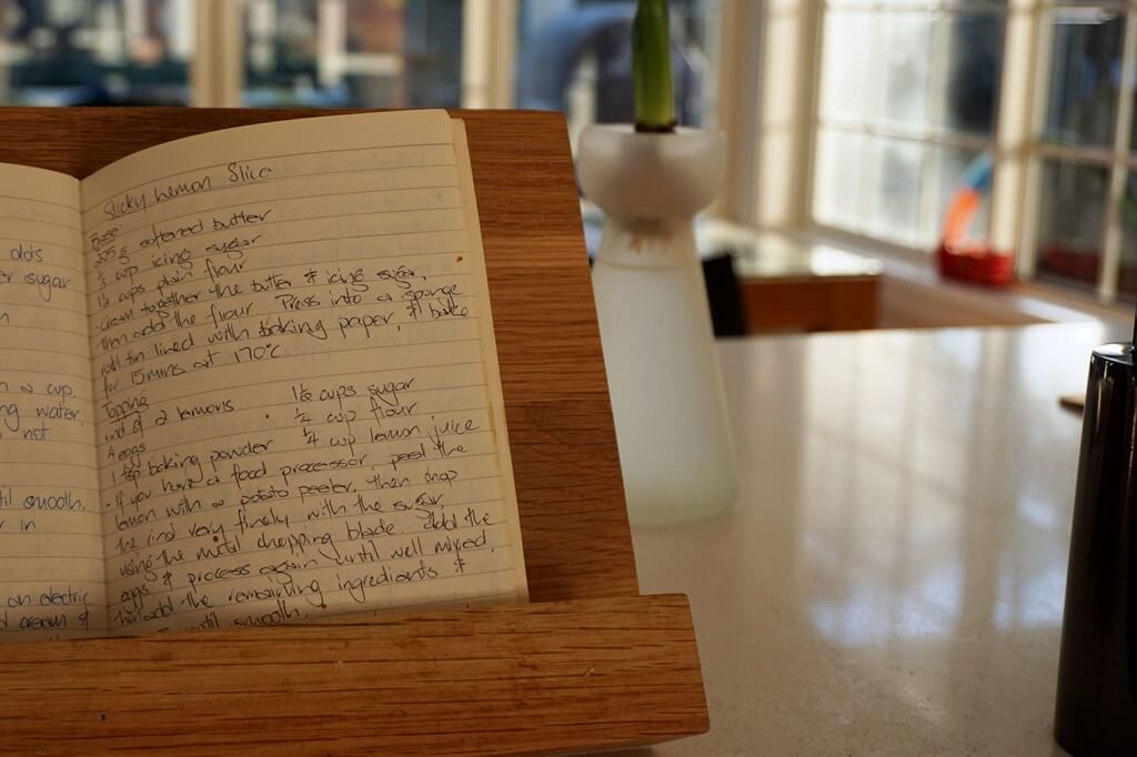 Sticky Lemon Slice recipe - handwritten in my notebook 30 years ago
