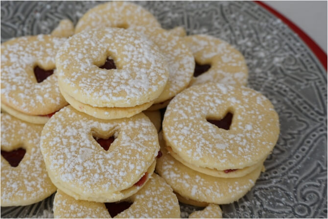 Coconut and jam hearts from Donna Hay Christmas Feasts and Treats