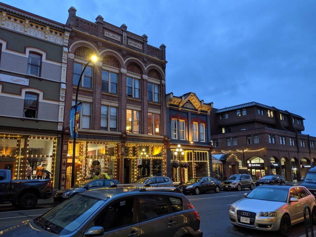 Shops lit up in Market Square - a fabulous place to shop.