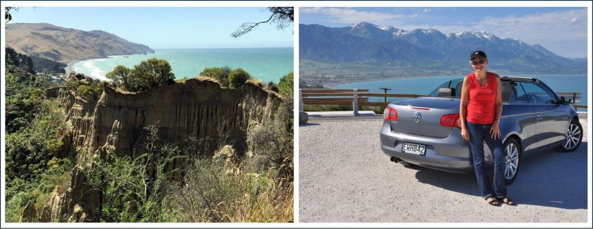 Cathedral Cliffs and lookout over Kaikoura